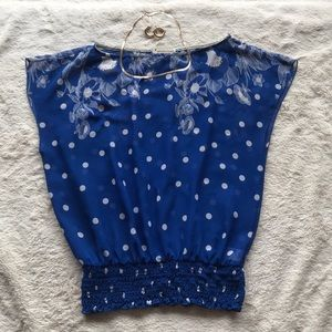 Forever 21 Sheer Blue Polka Dot Blouse, Small